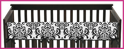 Long Front Rail Guard Baby Girl Teething Black White Damask Cover Crib Protector