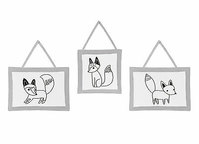 Sweet Jojo Wall Art Decor Hangings For Grey Black And White Fox Baby Bedding Set