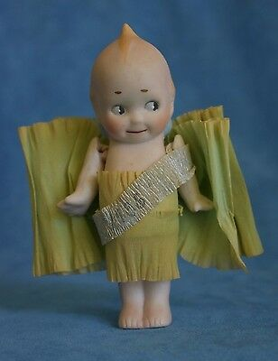 Antique 1936 Bisque Porcelain Tissue Banner Bow KEWPIE Doll Made In Japan A204
