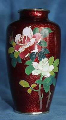 "Vintage Pigeon Blood Red Ginbari Roses Cloisonne Flowers Enamel 6"" Vase Japan"