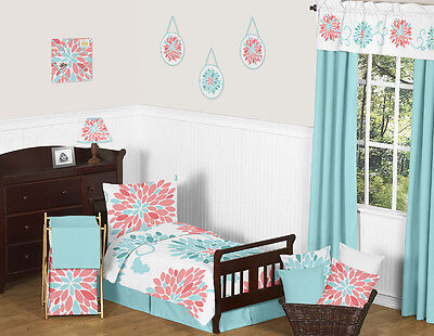 Cute Modern Turquoise Blue and Coral Floral Toddler Size Bedding Set Sweet Jojo