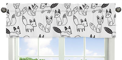 Window Treatment Valance For Sweet Jojo Designs Black And White Fox Bedding Set