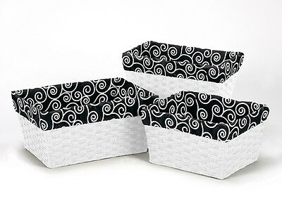 Black And White Print Organizer Storage Kid Basket Liners Small Medium Large Bin