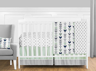 Bumperless Grey White Mint Navy Woodland Arrow Baby Bedding Girl Or Boy Crib Set