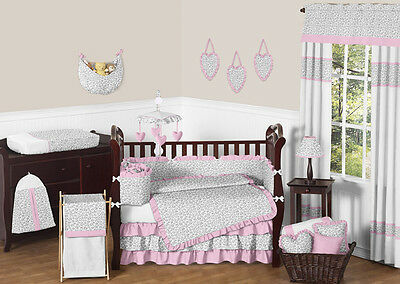 Luxury Pink and Gray Cheetah Animal Print Baby Bedding Crib Set for Newborn Girl