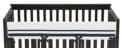 Navy White Hotel Front Rail Guard Baby Boy Girl Teething Cover Crib Protector
