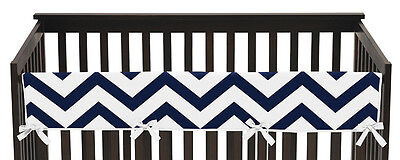 Navy & White Chevron Zig Zag Front Rail Guard Crib Cover Baby Teething Protector