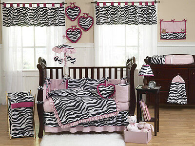 Pink and Zebra Print Crib Baby Bedding Set for Newborn Girl Sweet Jojo Designs