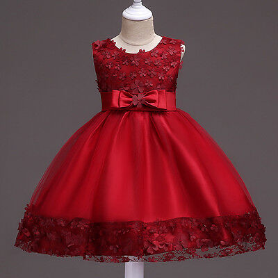 New Baby Girls Kids Sleeveless Lace Flower Bowknot Wedding Princess Party Dress