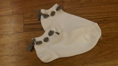 Vtg Women's Anklet Booties Sport Socks SUPER SOFT ORLON Gray Bows No Pom Poms