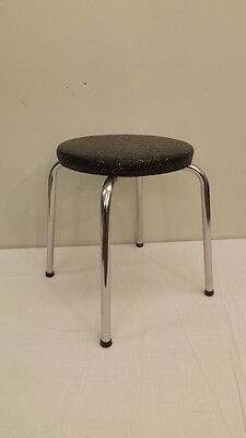"Vtg Mid Century 14 1/2"" Utility Step Stool Chrome Black w/Gold Fleck Vinyl"