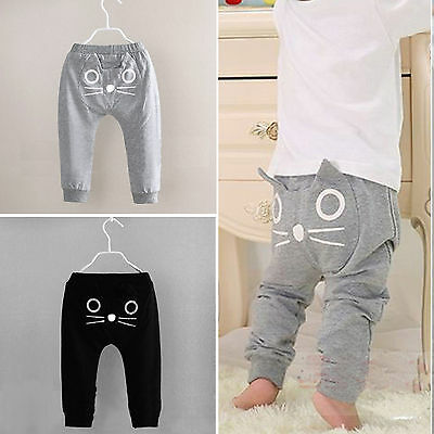 Kids Toddler Baby Boy Girl Cute Cat Harem Pants Cotton Trousers Bottom Leggings
