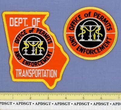 GEORGIA DOT (~2 Patches) Police Patch PERMITS DEPT of TRANSPORTATION STATE SHAPE