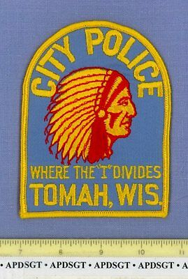 TOMAH CITY WISCONSIN WI Sheriff Police Patch INDIAN WHERE THE 'I' DIVIDES