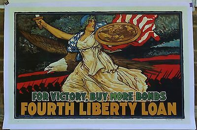 Original linen-backed 1918 WWI poster Fourth Liberty Loan Lady Liberty Stunning!