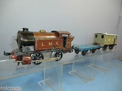 "VINTAGE HORNBY ""0"" MODEL No. ""LMS ENGINE, FLAT WAGON & BRAKE VAN""  SET ""CODE 3"""
