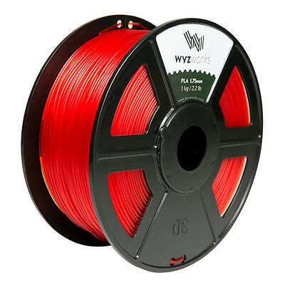 WYZwork 3D Printer Premium PLA Filament 1.75mm 1kg/2.2lb - Translucent Red