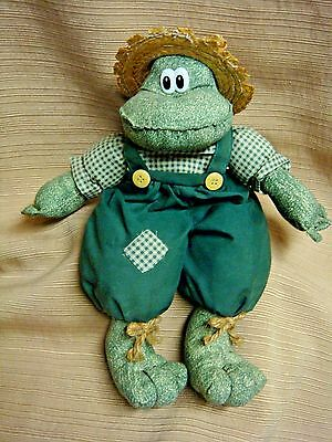 "11"" FROG DOLL by Springwater Cookie Co - Straw Hat Green Overalls Checked Shirt"