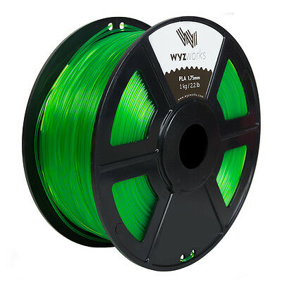 WYZwork 3D Printer Premium PLA Filament 1.75mm 1kg/2.2lb - Translucent Green