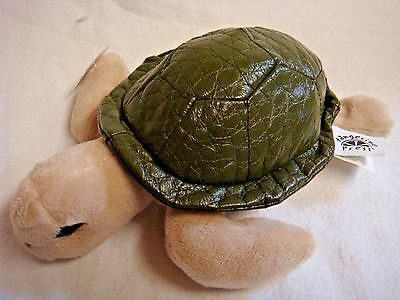 ADORABLE Plush TURTLE w/ Quilted Leatherette Shell by TANGERINE PRESS
