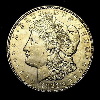 1921 D ~**ABOUT UNCIRCULATED AU**~ Silver Morgan Dollar Rare US Old Coin! #B15