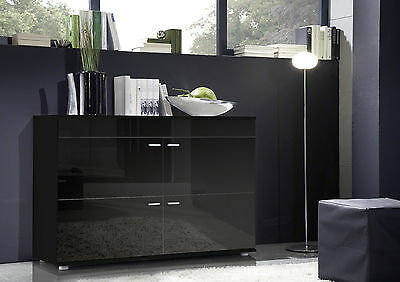 High Gloss Sideboard with 4 Doors BLACK | New & Modern Living Room Furniture