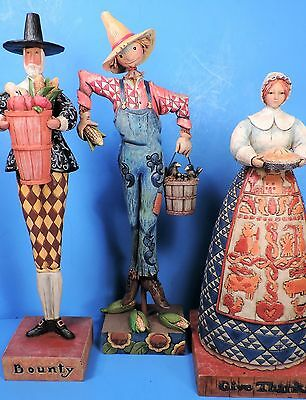 "3 Jim Shore Figurines ""give Thanks"" & ""bounty""  & ""scaring Up Fun""  Mint"