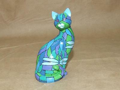 Cat Purr fect Reflections of Tiffany Dragonfly Figurine Hamilton Collection w/ #