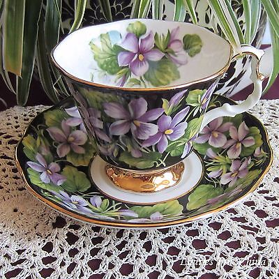 Royal Albert Provincial Flowers PURPLE VIOLETS Bone China Tea Cup and Saucer
