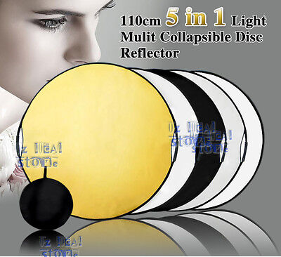 110CM 5 in 1 STUDIO PHOTOGRAPHY PHOTO COLLAPSIBLE LIGHT REFLECTOR & HANDLE GRIP