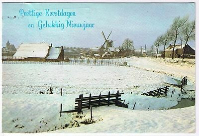Holland Netherlands Postcard Greetings Snow Covered Farm Windmill Winter