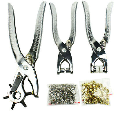 3PC Leather Belt Hole Punch + Eyelet Plier + Snap Button Grommet Setter Tool Kit