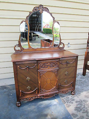 58269   Antique Walnut Dresser Chest with Mirror