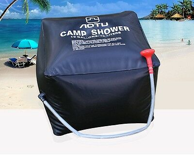 40L/10Gallon Portable Solar Powered Shower Bag Water Bag Outdoor Camping Hiking