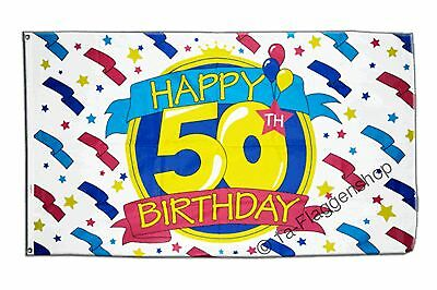 Flagge Fahne Happy Birthday 50. Geburtstag - 90 x 150 cm
