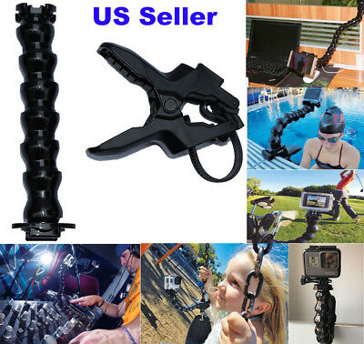 Jaws Flex Clamp Mount +Adjustable Neck for Gopro Hero 5 4 3 2 Camera Accessories