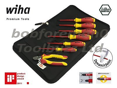 Wiha 38020 Vde Super 7 Slimfix Screwdriver & Side Cutter Set Zip Wallet- 7 Piece