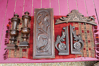 lot of french carved wood ca 1890, dolphin