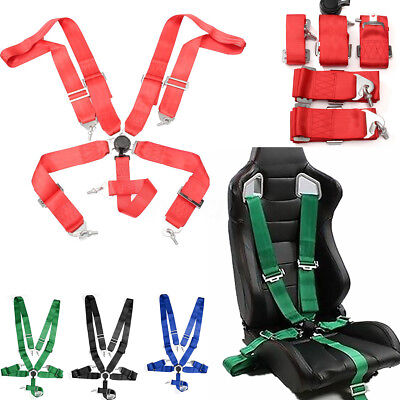 """1x SPORTS RACING HARNESS SEAT BELT 3"""" Straps 5 POINT FIXING QUICK RELEASE GREEN"""