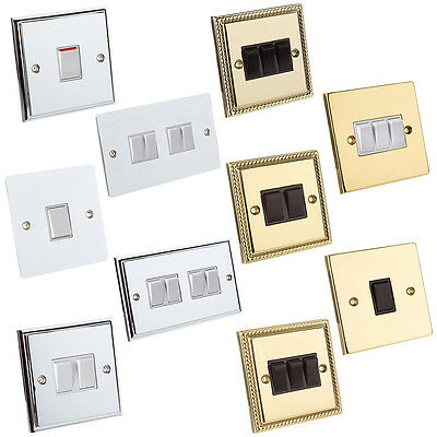 Electrical Wall Mains Light Switch - Single,Double,Triple,Quad - Various Colours