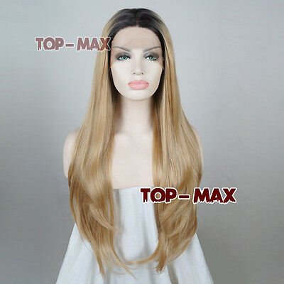 """24"""" Blonde Mixed Black Long Wavy Lace Front Wig Heat Resistant"""