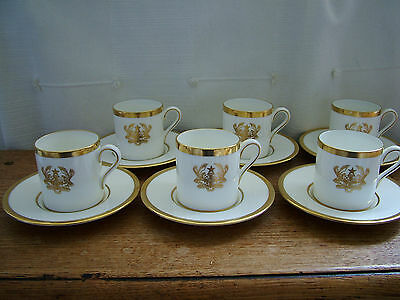 Commision ? Wedgwood China Gilt Ghana Coat of Arms 6 x Coffee Cans & Saucers