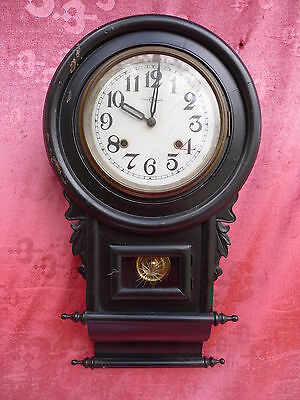 beautiful, antique Pendulum Clock__wood - glass_