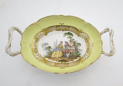 Antique BERLIN KPM Bowl WATTEAU Courting Couple Porcelain Dish with Handles