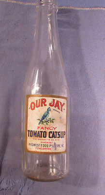 Antique Vintage Our Jay Tomato Catsup Bottle With Original Label Fowlerton In