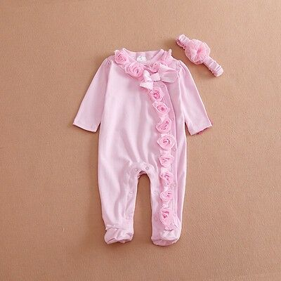 KIds Baby Girl Clothes Bodysuit Romper Jumpsuit Playsuit+Headband Outfits Sets