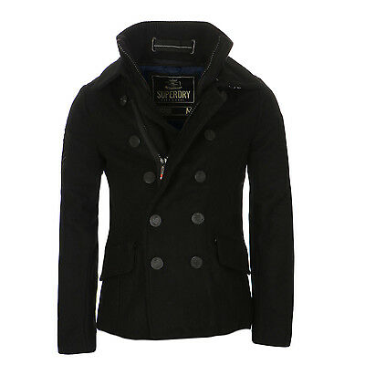 SUPERDRY Herren Winter Caban Mantel CLASSIC PEACOAT Black