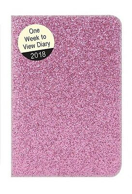 2018 Small Pocket Week To view Diary - Glitter Sparkle - Pink