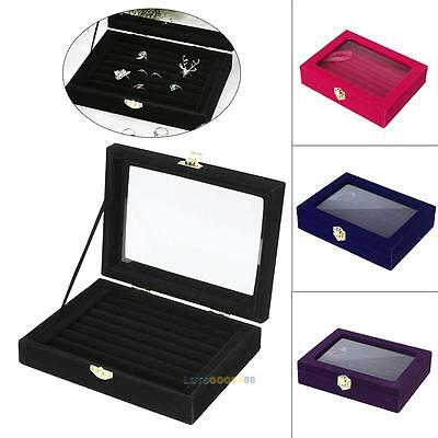 8-Rows Ring Earring Jewelry Display Tray Show Case Box Organizer Storage Holder