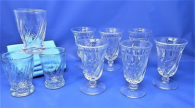 Lot of 9 Vintage Colony by Fostoria Juice Glasses - 6 Footed & 3 Flat VGC N2